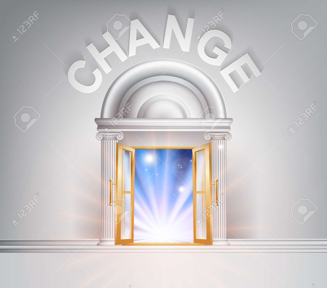 Change door concept of a fantastic white marble door with columns with light streaming through it. Stock Vector - 24900259