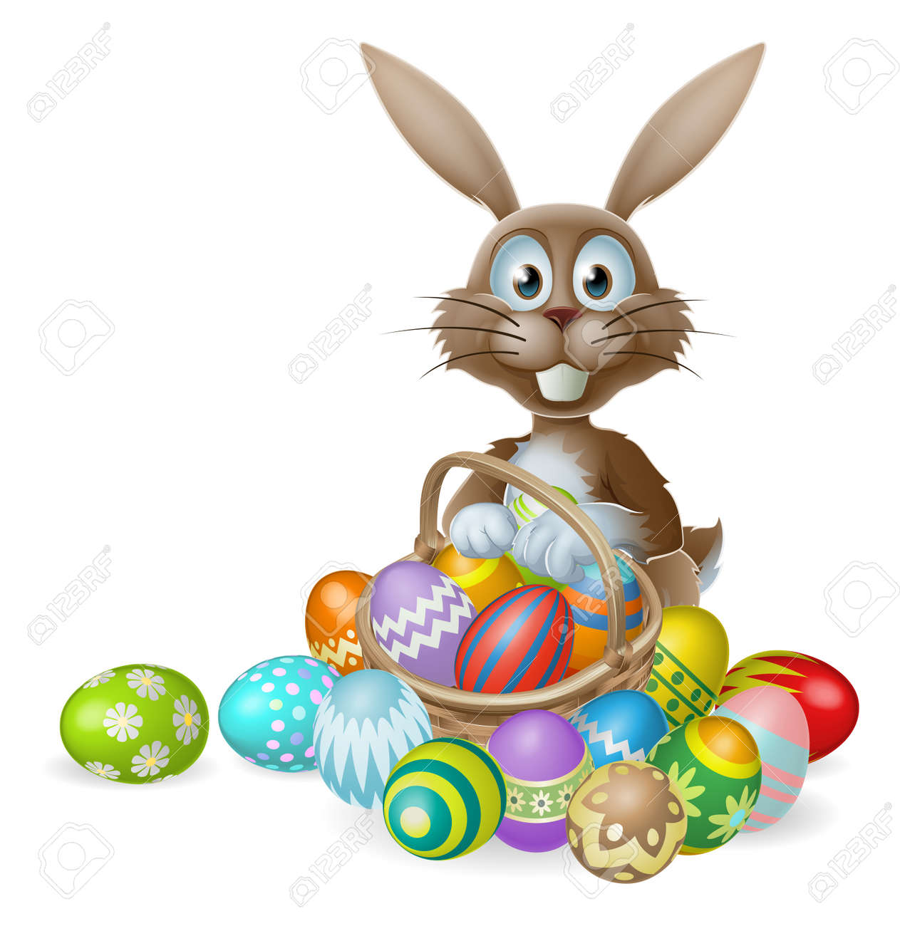 An Easter bunny rabbit with a basket of decorated painted chocolate Easter eggs Stock Vector - 24900269
