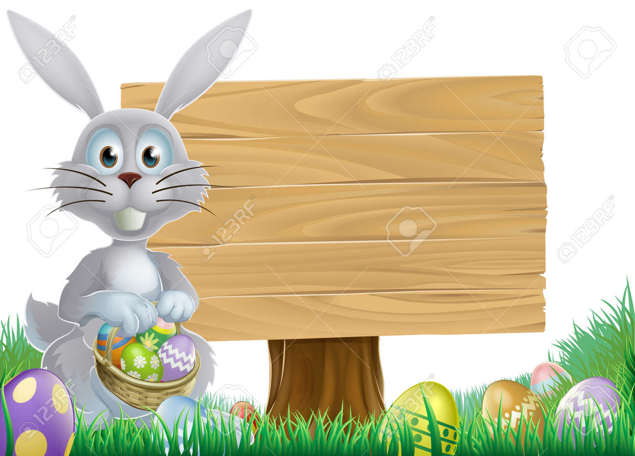 Easter bunny rabbit with a wooden sign holding chocolate Easter eggs basket Stock Vector - 24900285