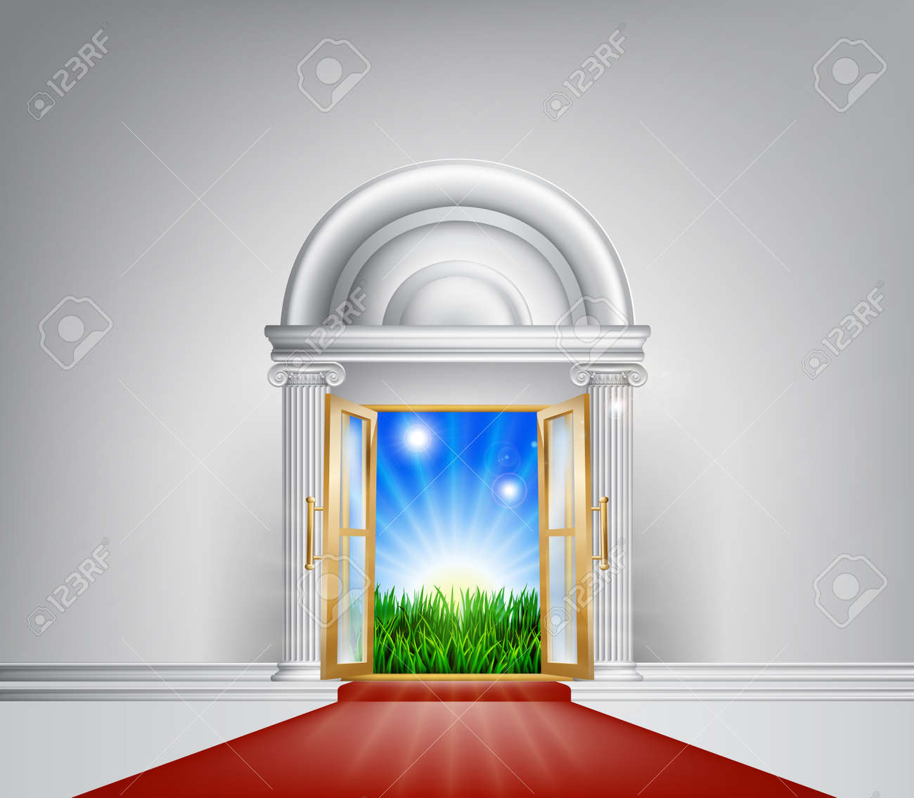 A grand entrance door with red carpet leading to it opening onto a beautiful dawn over a green field Stock Vector - 24948376