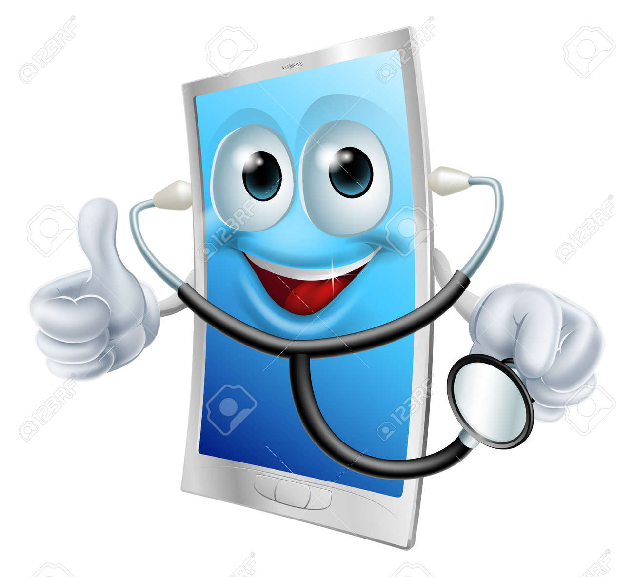 Illustration of a mobile phone character holding a stethoscope - 25041385
