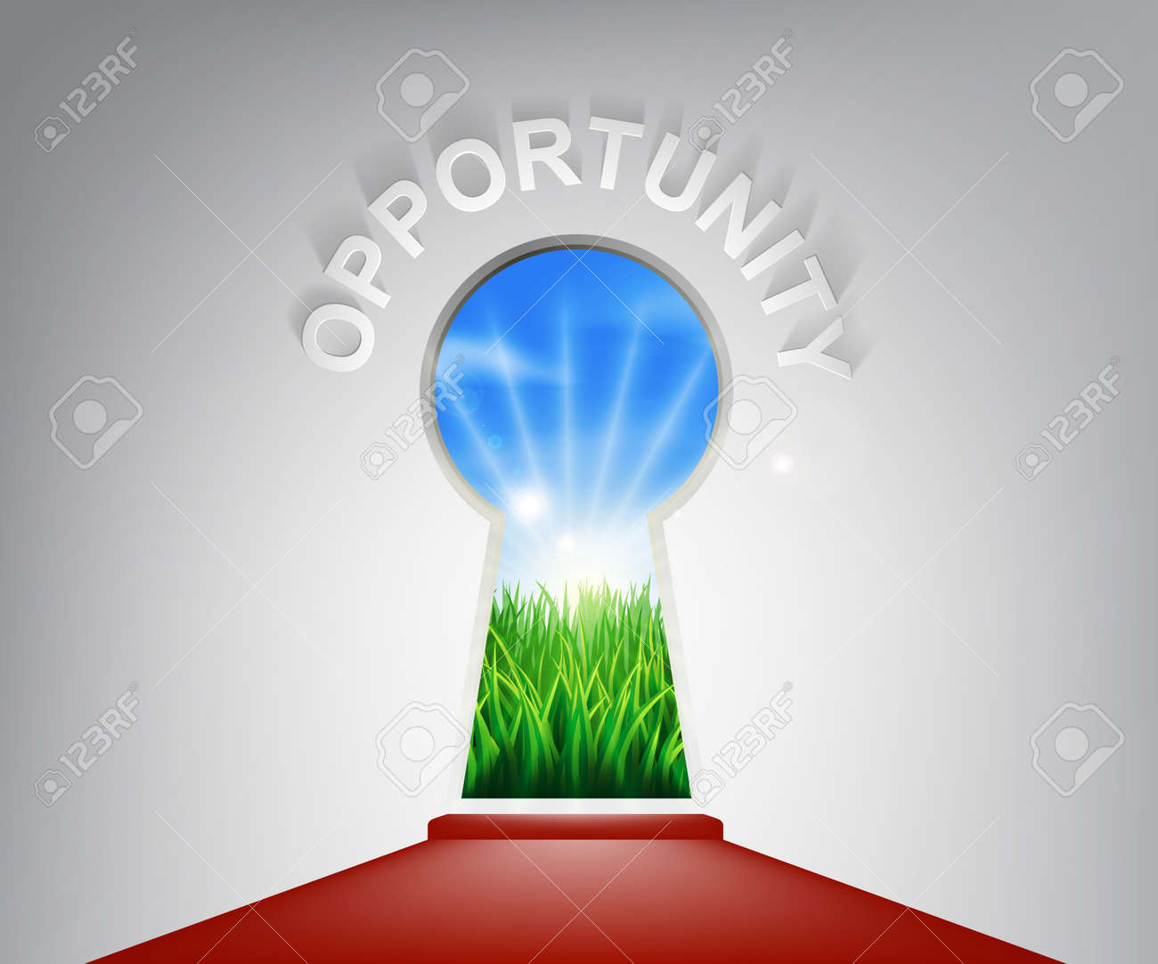 A conceptual illustration of a opportunity keyhole entrance opening onto a field of lush green grass. Concept for a new life or opportunity Stock Vector - 25041401