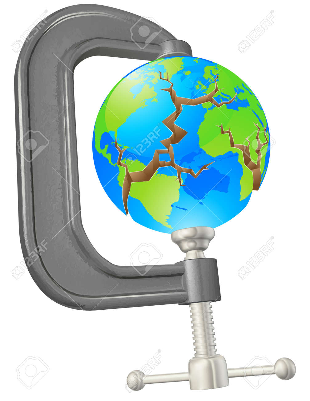 Illustration of a clamp cracking a world globe concept Stock Vector - 25210380