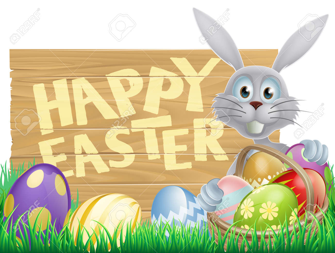 Easter wood sign reading Happy Easter with the Easter bunny and decorated Easter eggs Stock Vector - 25210384