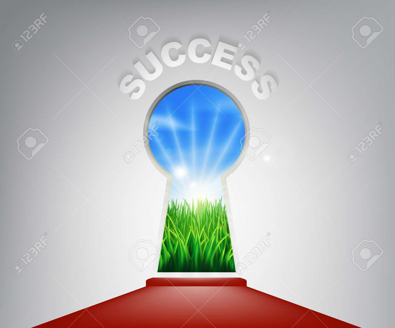 A conceptual illustration of a keyhole entrance to success opening onto a field of lush green grass. Concept for a new life or opportunity Stock Vector - 25954170