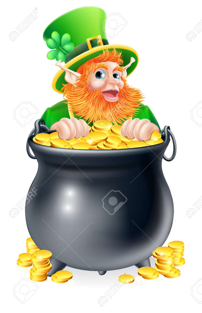 an illustration of a st patricks day leprechaun with a pot of