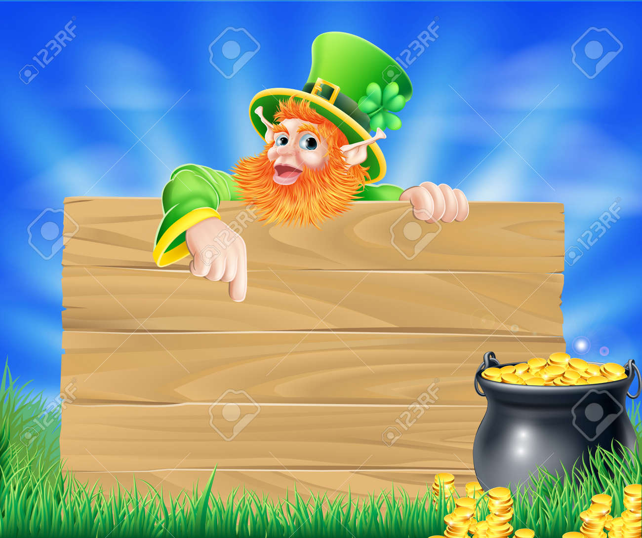 Uncategorized Leprechaun Background st patricks day leprechaun background with wooden sign and cauldron or pot of gold coins stock