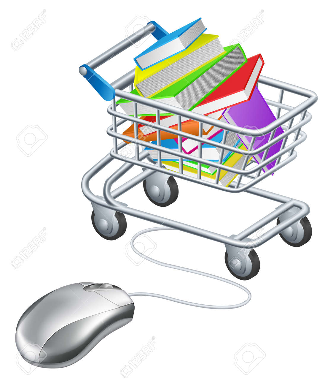 Books in a shopping trolley or cart connected to computer mouse, concept for online education or shopping for books on the internet - 27225705