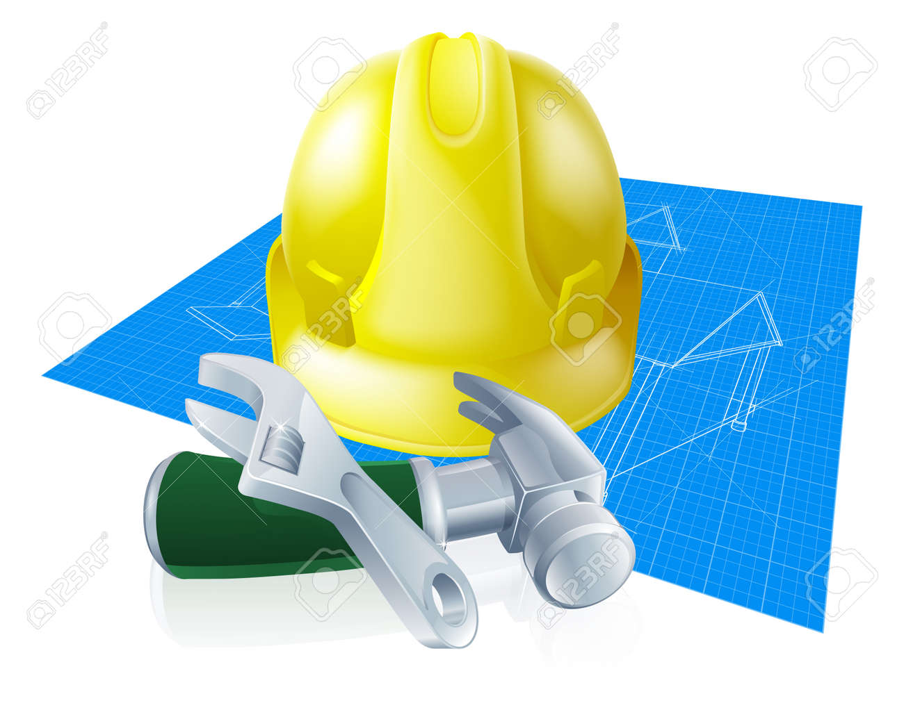 Hard hat tools and blueprint construction industry illustration hard hat tools and blueprint construction industry illustration a yellow hard hat helmet spanner malvernweather Images