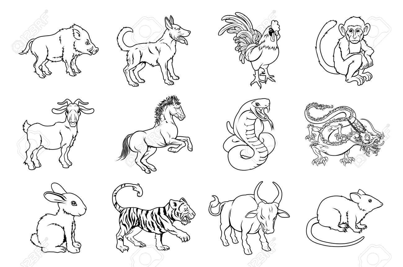 Illustrations of all twelve chinese zodiac sign icon animals royalty illustrations of all twelve chinese zodiac sign icon animals stock vector 27251010 buycottarizona Image collections