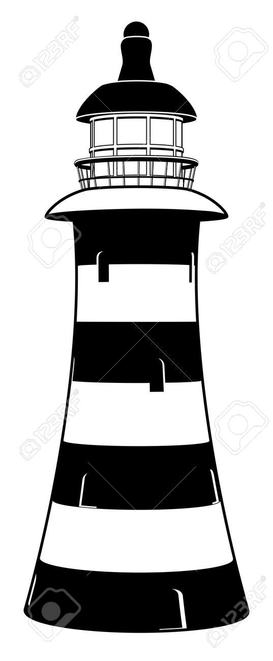 A Lighthouse Illustration In Stylised Black And White With Stripes Stock Vector