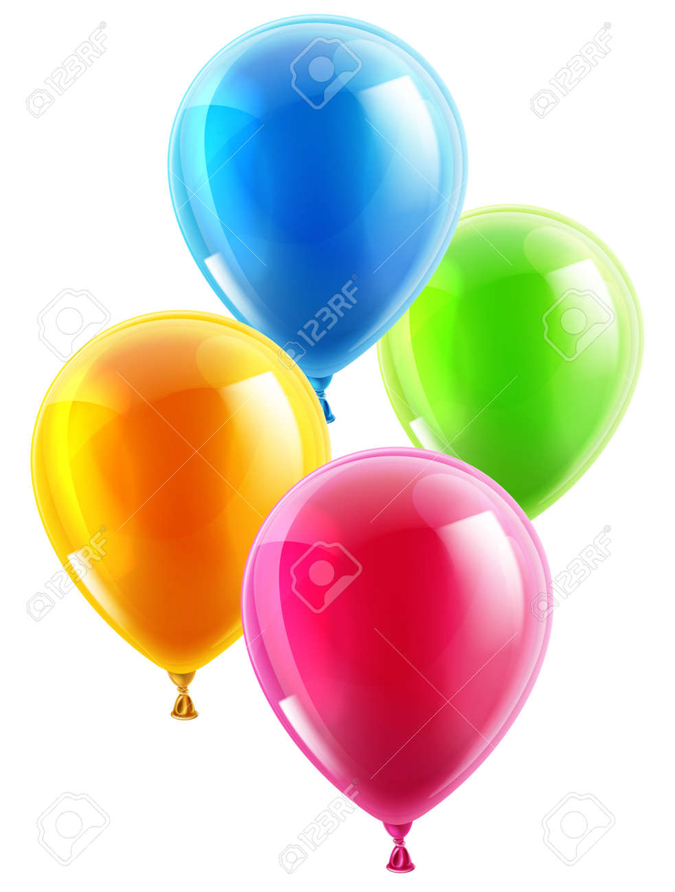 An illustration of a set of colourful birthday or party balloons - 27253795