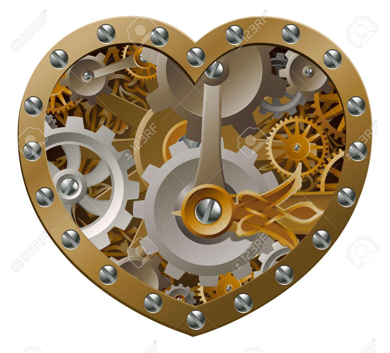 Con Concepto Reloj Hecha Engranajes De Corazón Forma Y Steampunk 6gbyf7