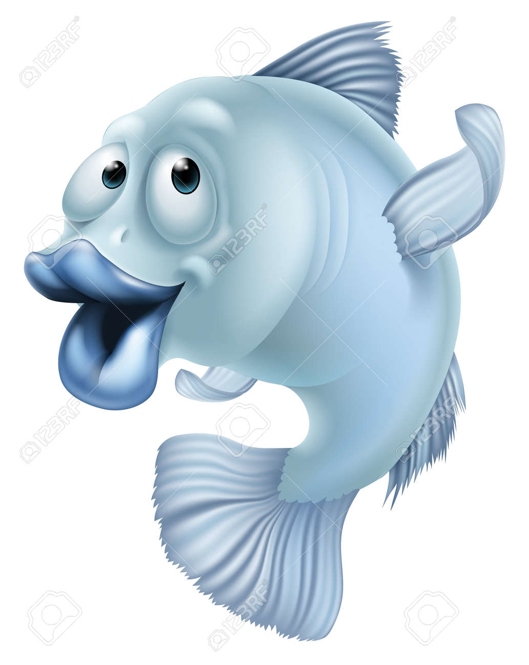 An illustration of a blue cartoon fish character mascot Stock Vector - 27870807