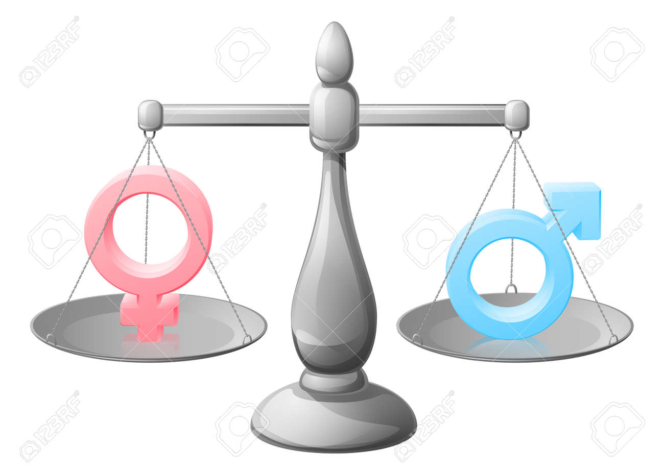 Gender Symbol Scales Equality Concept With Man And Woman Or Male