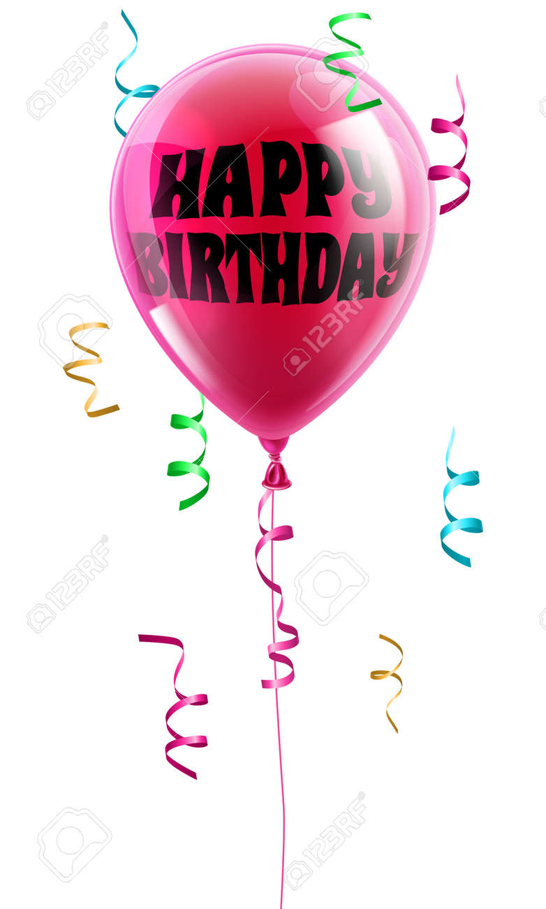 a shiny pink balloon with the words happy birthday written on