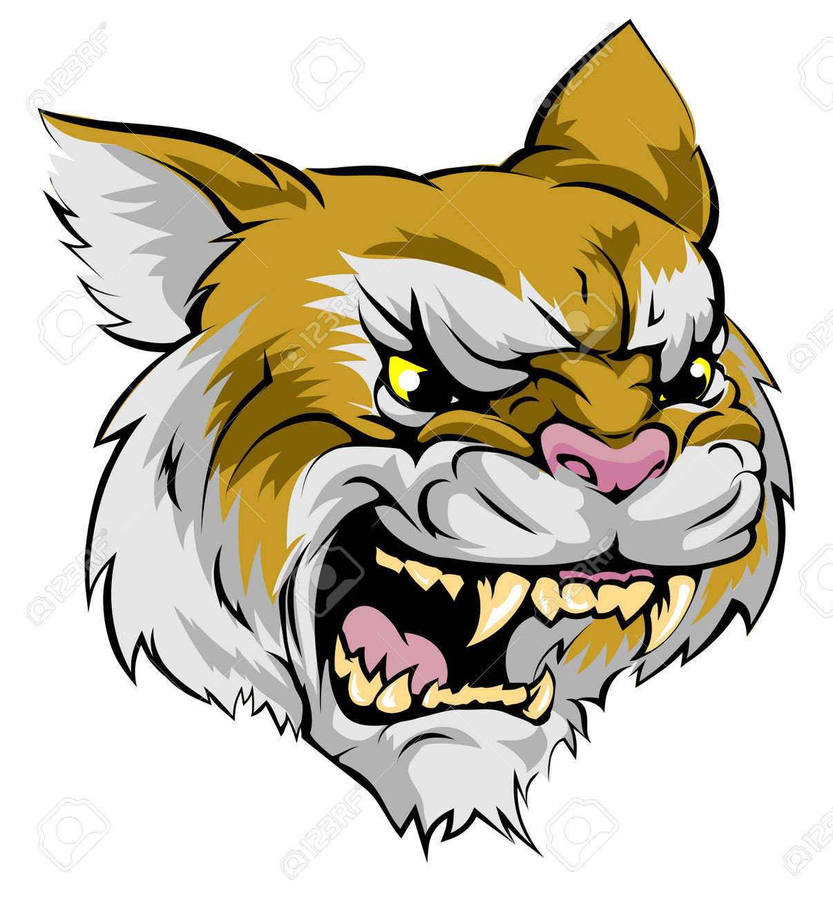 an illustration of a fierce wildcat animal character or sports rh 123rf com wildcat school mascot clipart wildcat school mascot clipart