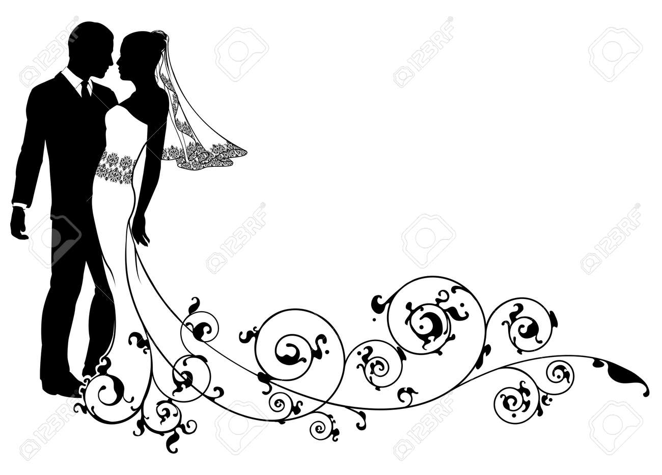 A bride and groom dancing or about to kiss on their wedding a bride and groom dancing or about to kiss on their wedding day with floral swirls junglespirit Images