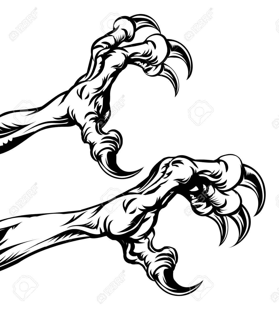 an illustration of eagle or monster animal claws or talons royalty rh 123rf com Eagle Silhouette eagle football mascot clipart