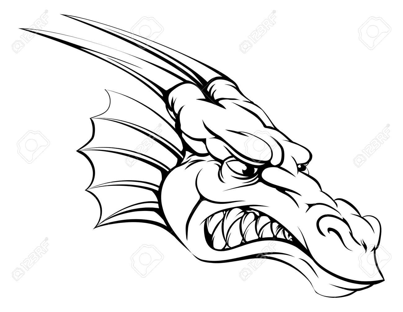 banque dimages un dessin dune tte moyenne de mascotte de dragon dur