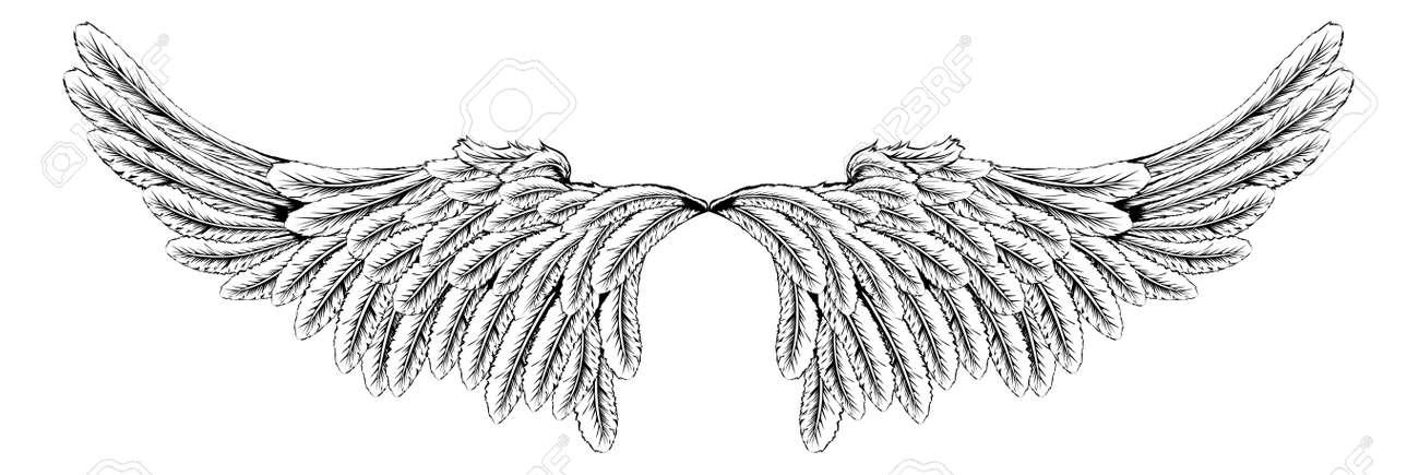 天使やワシの羽のような翼のペアのイラストのイラスト素材ベクタ