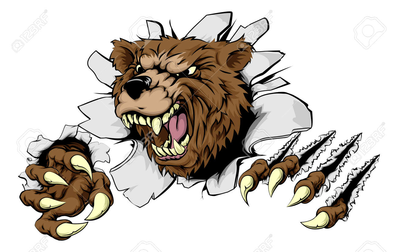 A Scary Bear Ripping Through The Background With Sharp Claws ...