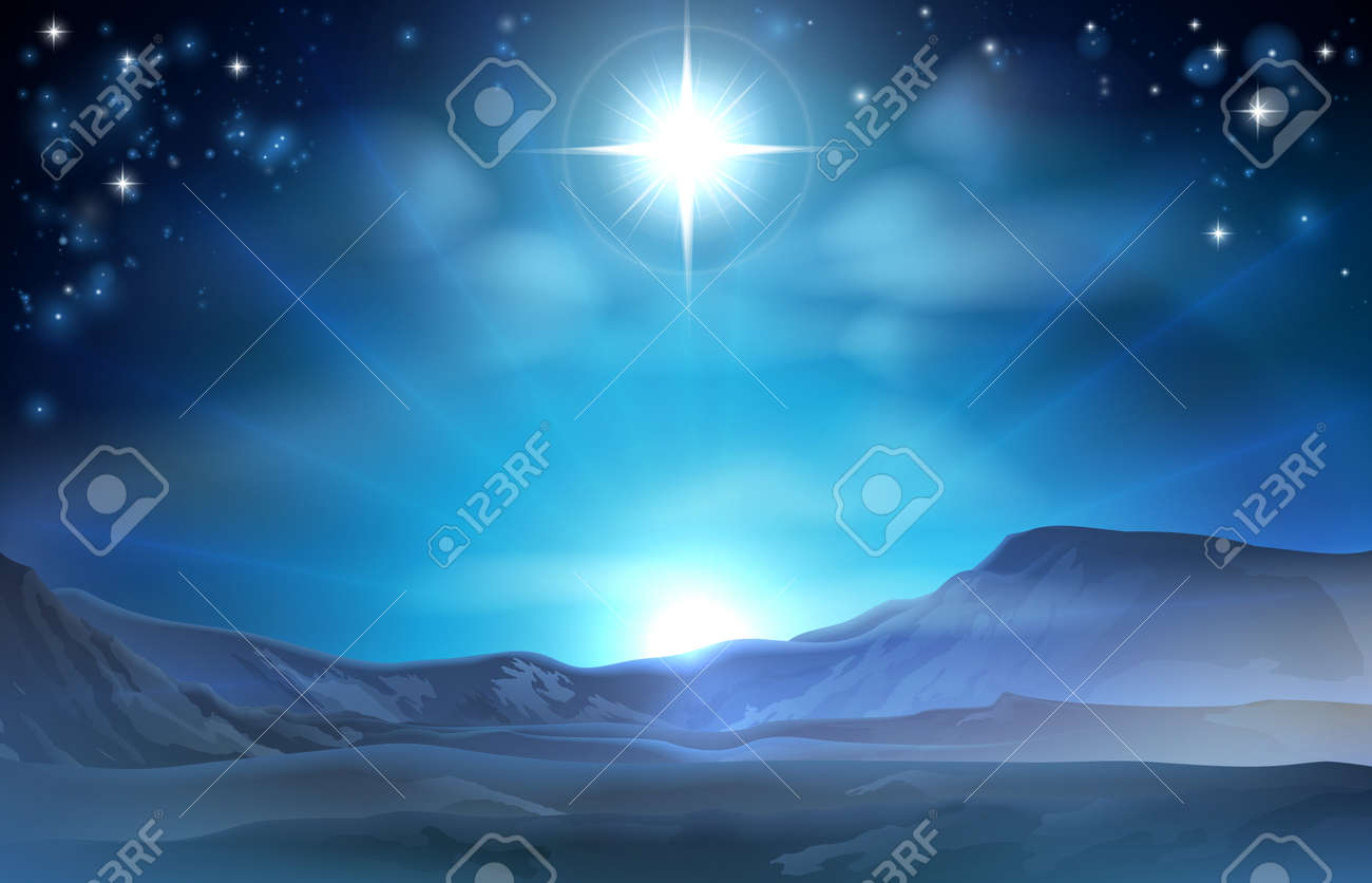 Christmas Nativity Star of Bethlehem illustration of the star over the desert pointing the way to Jesus birth place - 32948784
