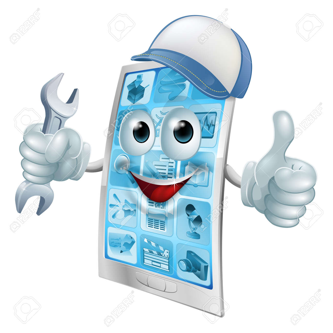 Phone repair cartoon character in cap with spanner doing a thumbs up - 33565838