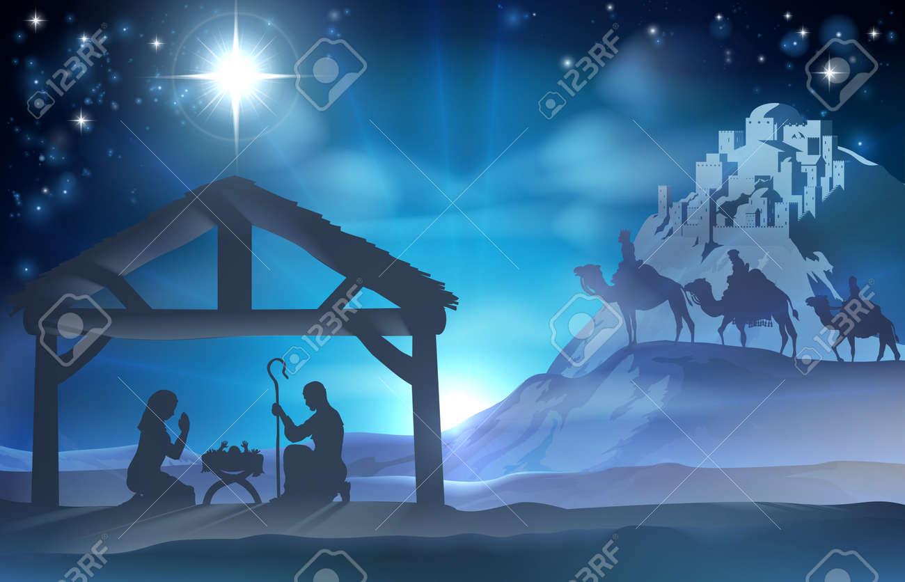 Christmas Religious.Religious Nativity Christian Christmas Scene Of Baby Jesus In