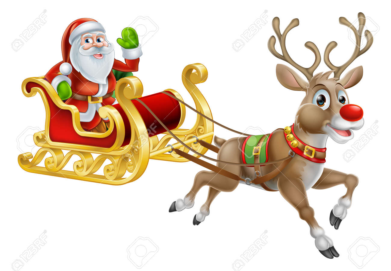 an illustration of santa claus riding in his christmas sleigh