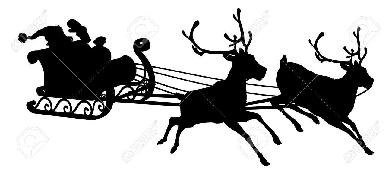 santa sleigh silhouette of waving santa claus in his sleigh and