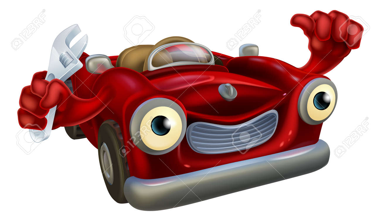 Cartoon Convertible Red Classic Sports Car Auto Repair Garage