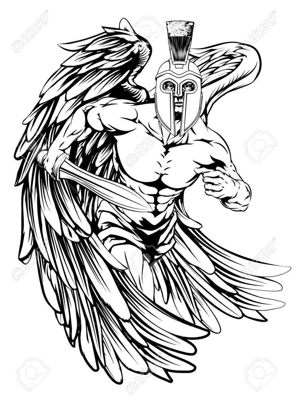 427 angel warrior stock vector illustration and royalty free angel