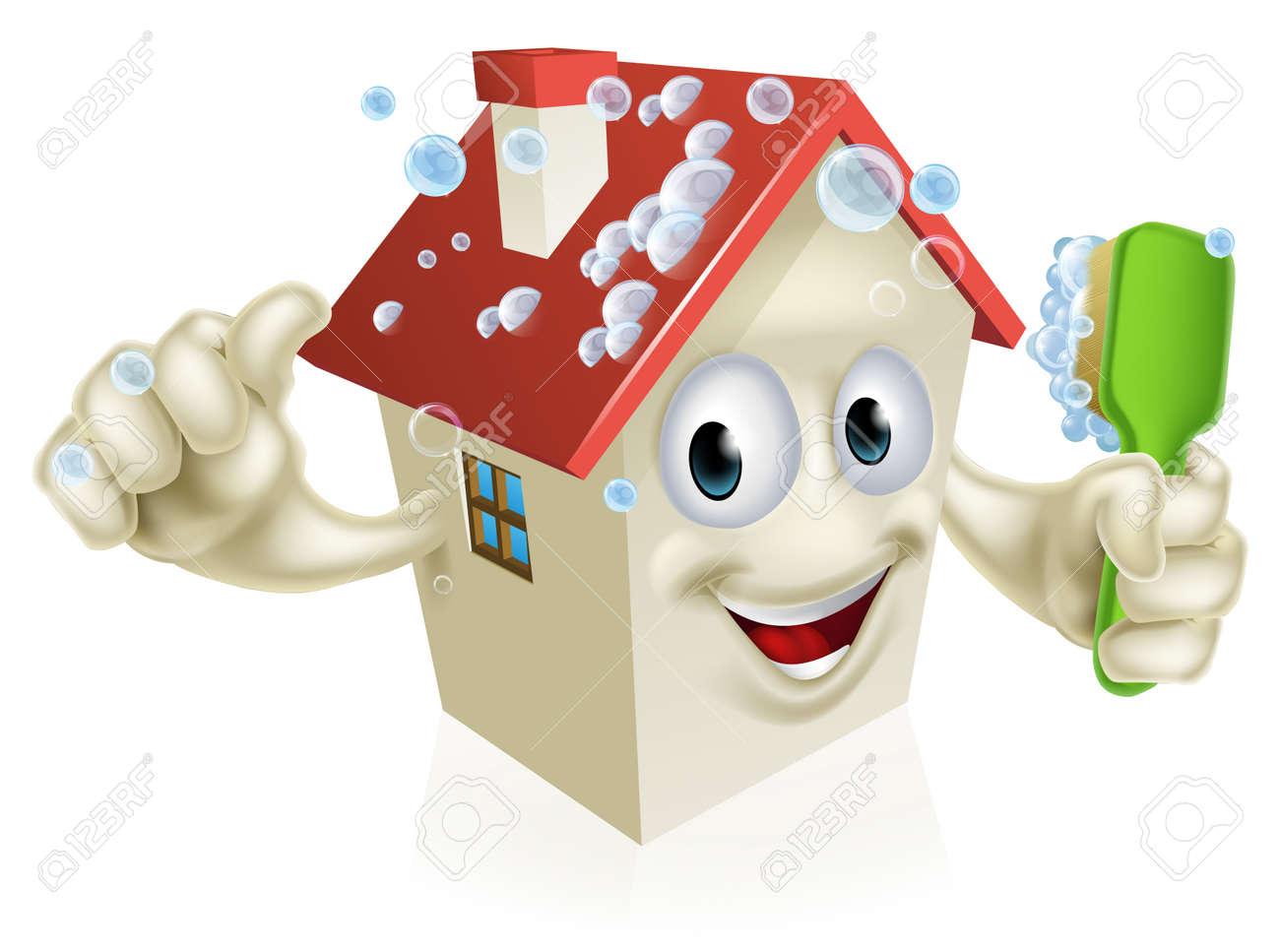 An Illustration Of A Cartoon House Cleaning Mascot Giving A Thumbs Up And  Cleaning Himself With