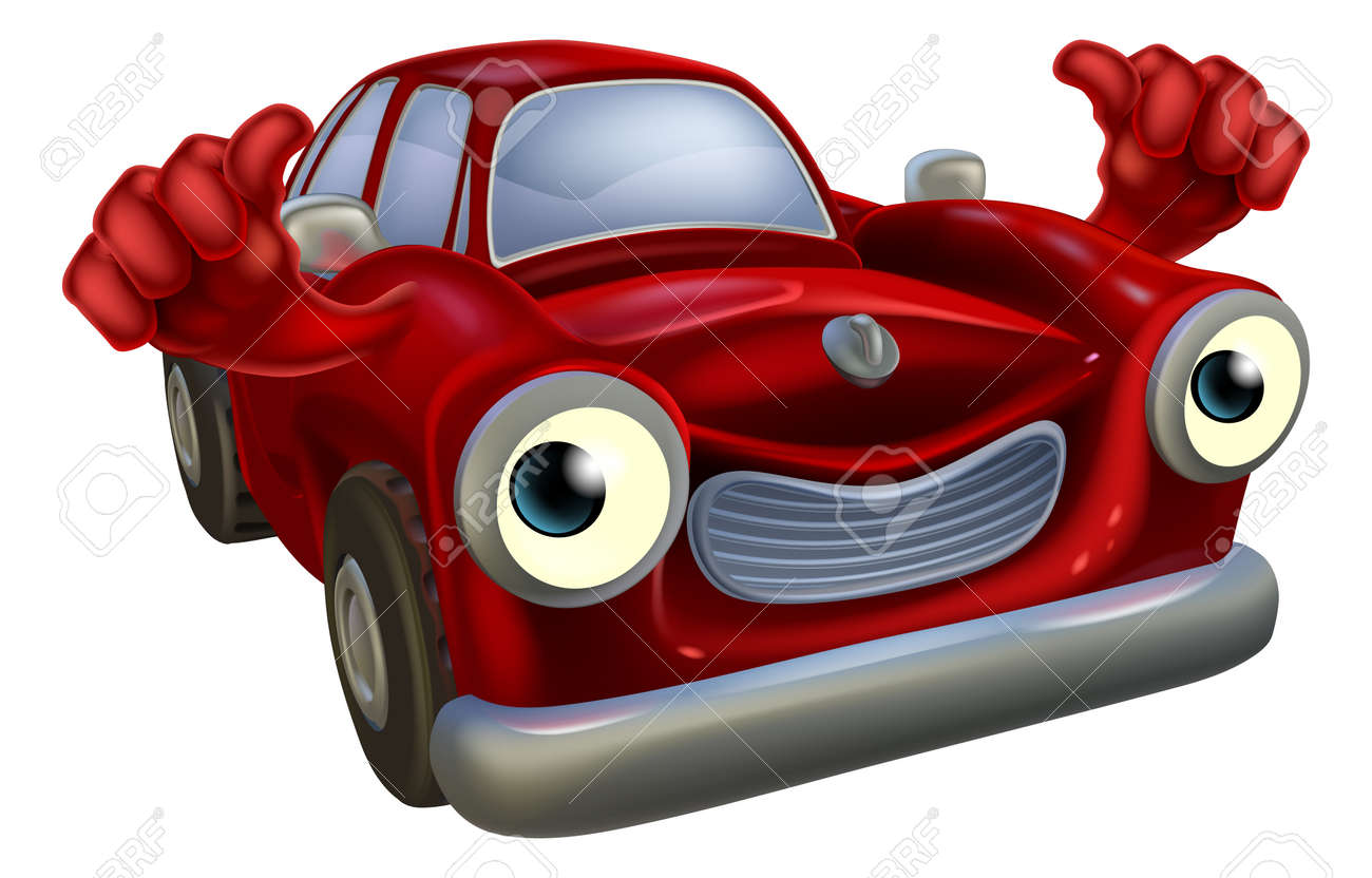 Cartoon Old Fashioned Car Character With A Happy Face Giving ...