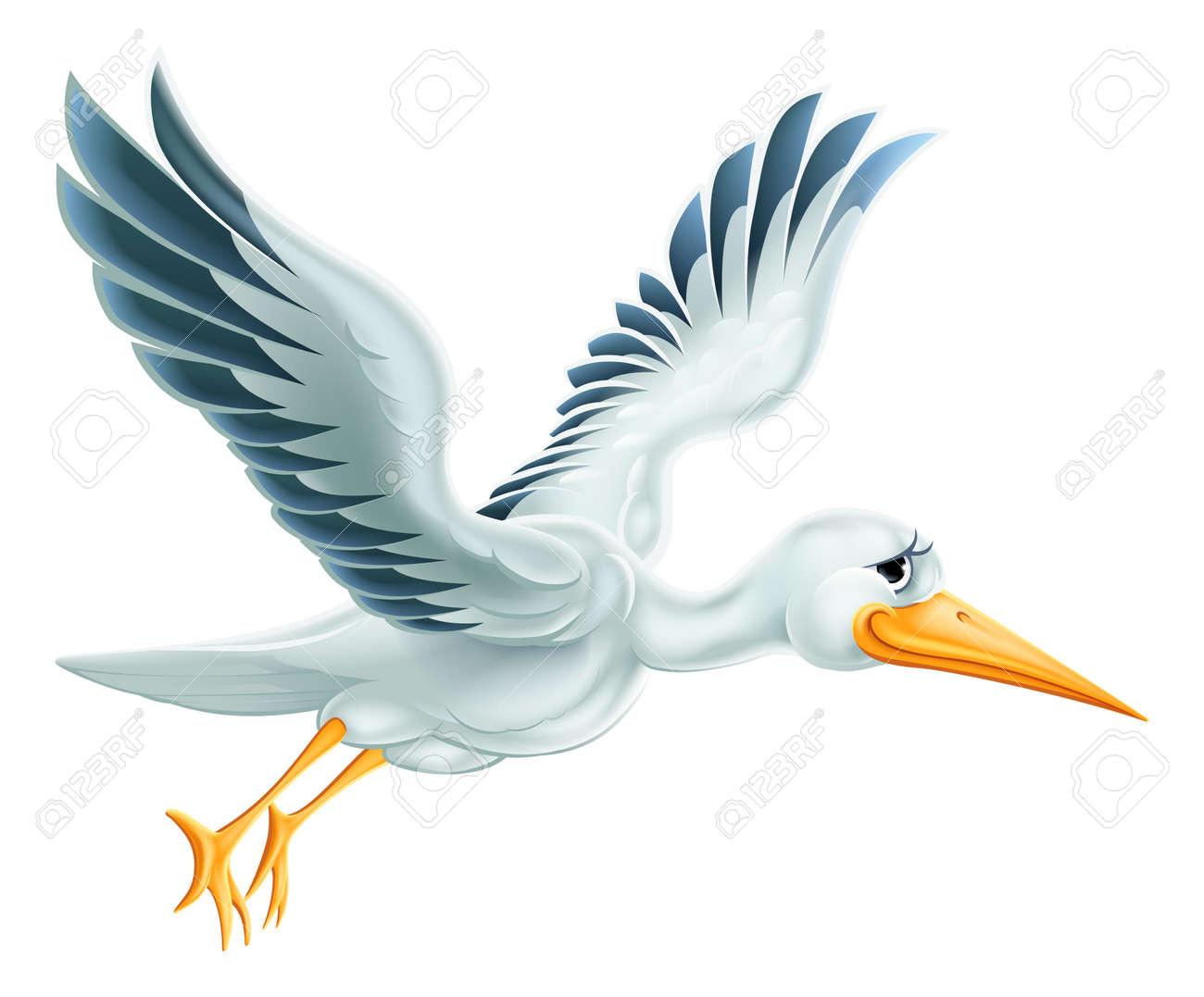 An illustration of a cute cartoon Stork bird character flying through the air - 36299009