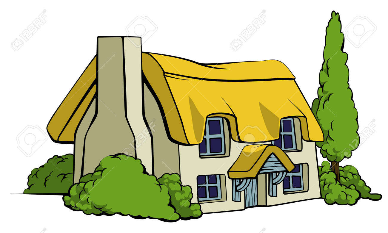 An illustration of a thatched country cottage or farm house - 36413912