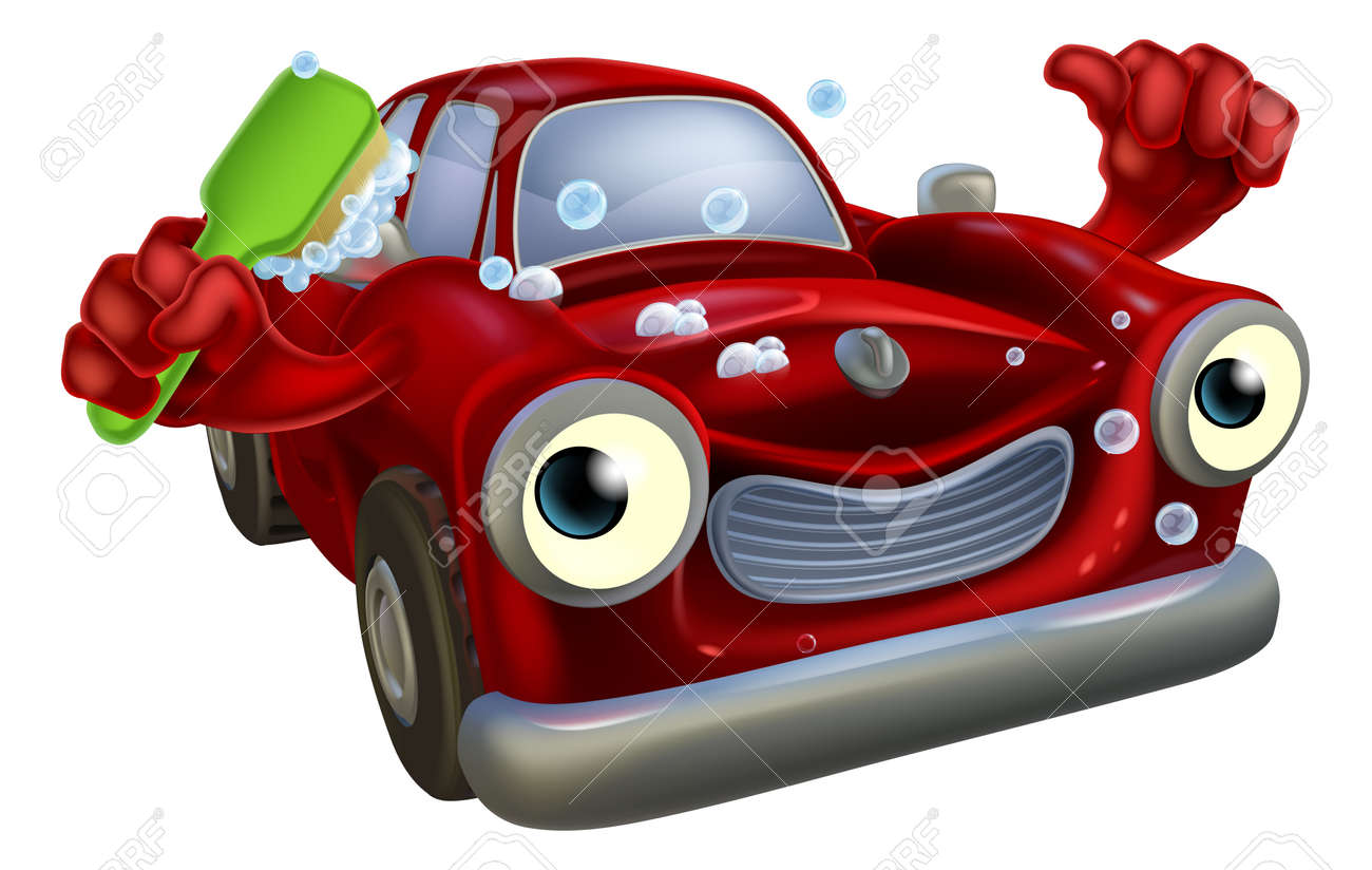 cartoon car wash mascot with a happy face giving a thumbs up and cleaning himself with