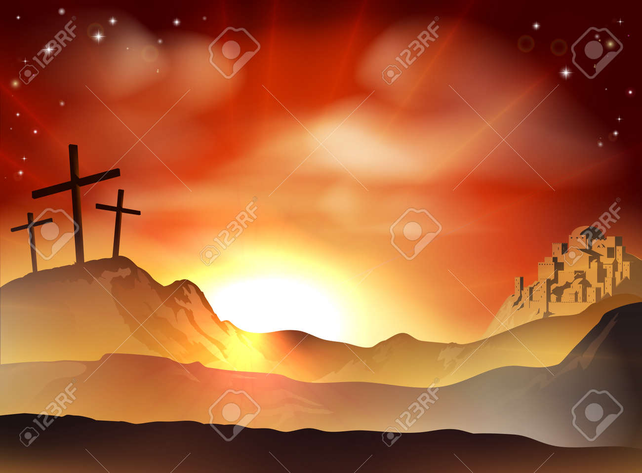 dramatic christian easter concept of jesus and the two thieves