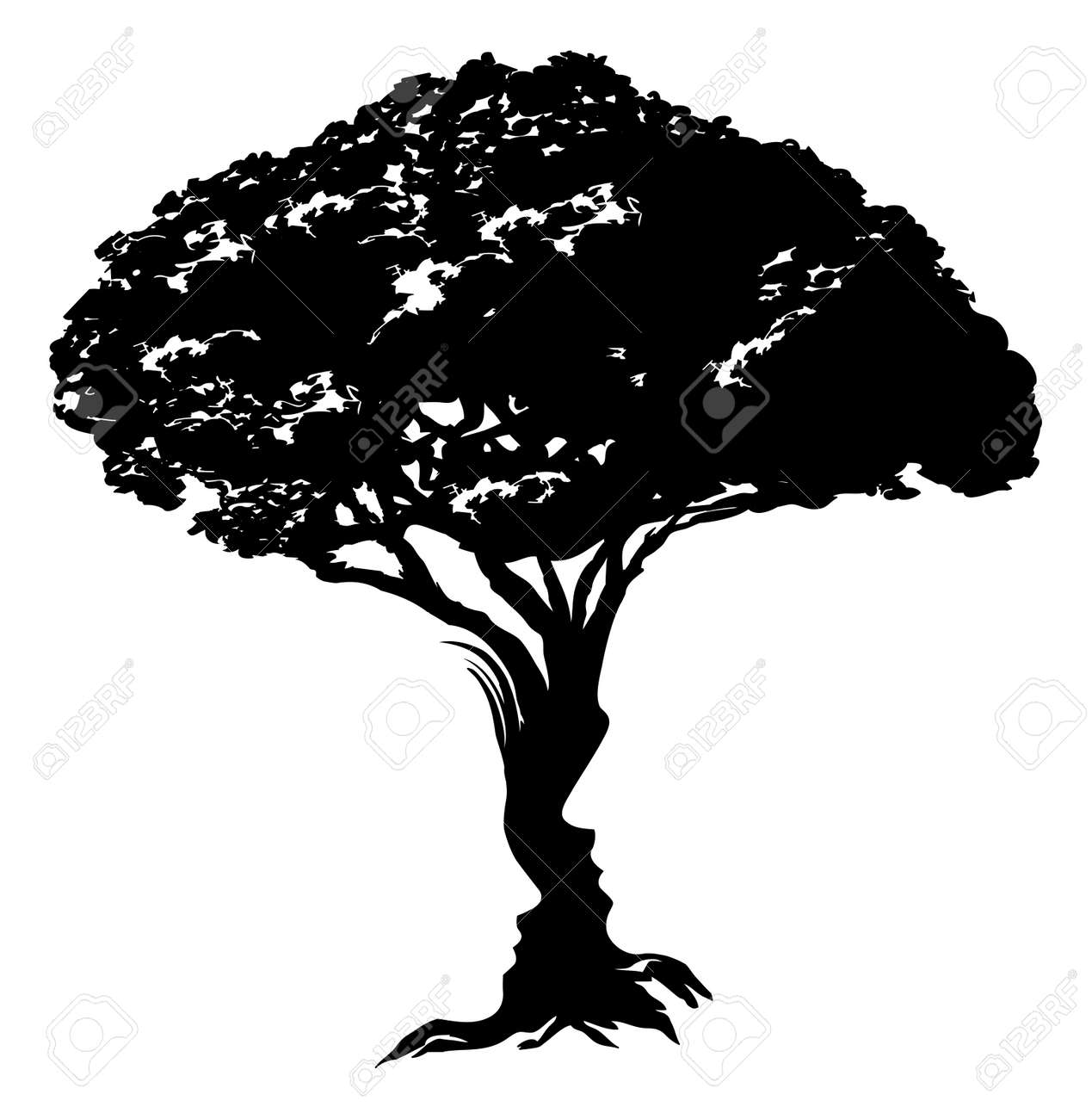 An Illustration Of Abstract Tree Optical Illusion Formed From A Man And Womans Face Concept