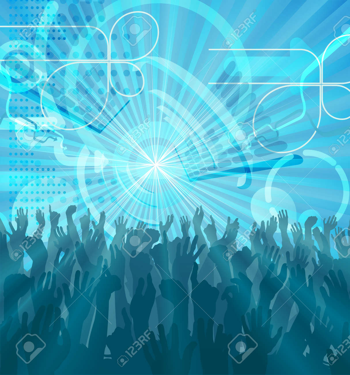 A Blue Abstract Party Crowd With Hands Raised Dancing Party Flyer ...