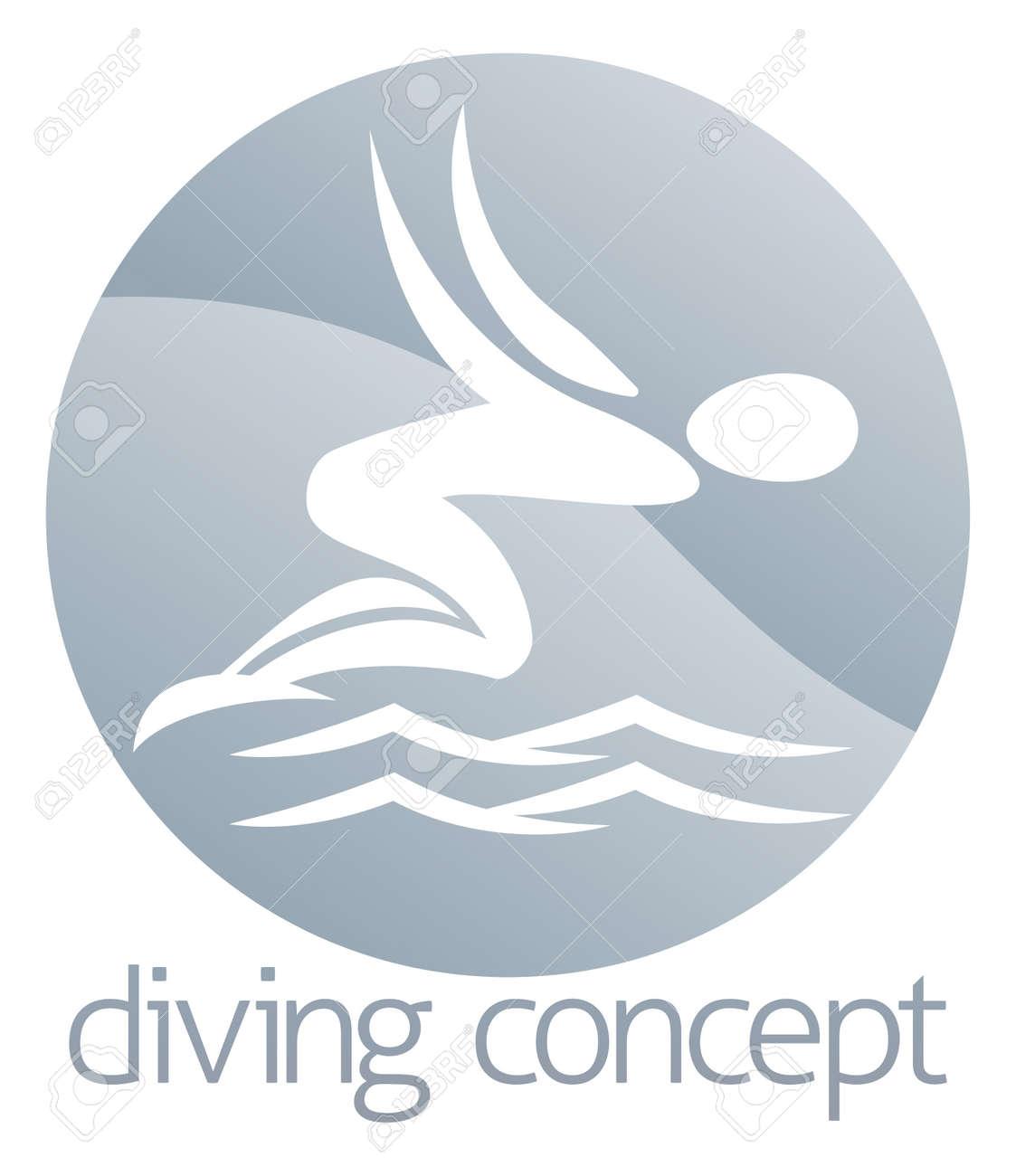ダイビング水サークルのコンセプト デザインに、抽象的な泳ぎ手の図の ...