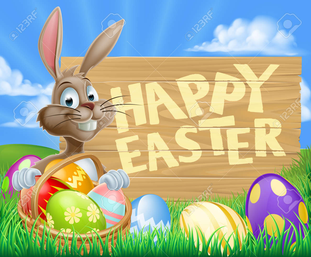 a cartoon easter bunny with a basket of easter eggs next to a