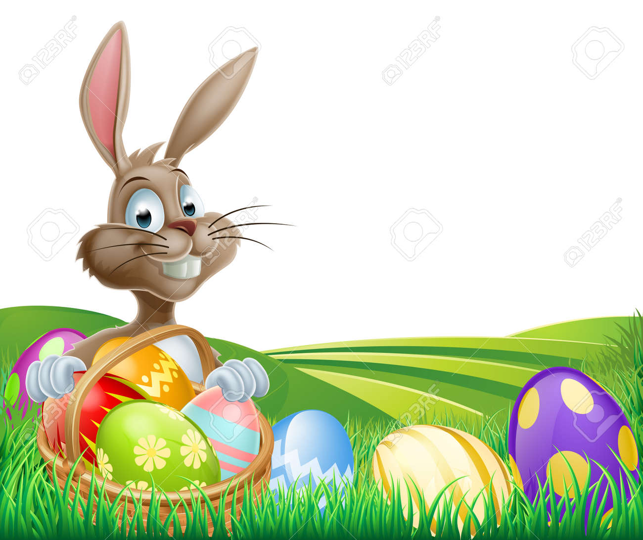 Cartoon Easter Bunny With A Hamper Of Chocolate Easter Eggs In ... for Real Easter Bunny With Eggs  146hul