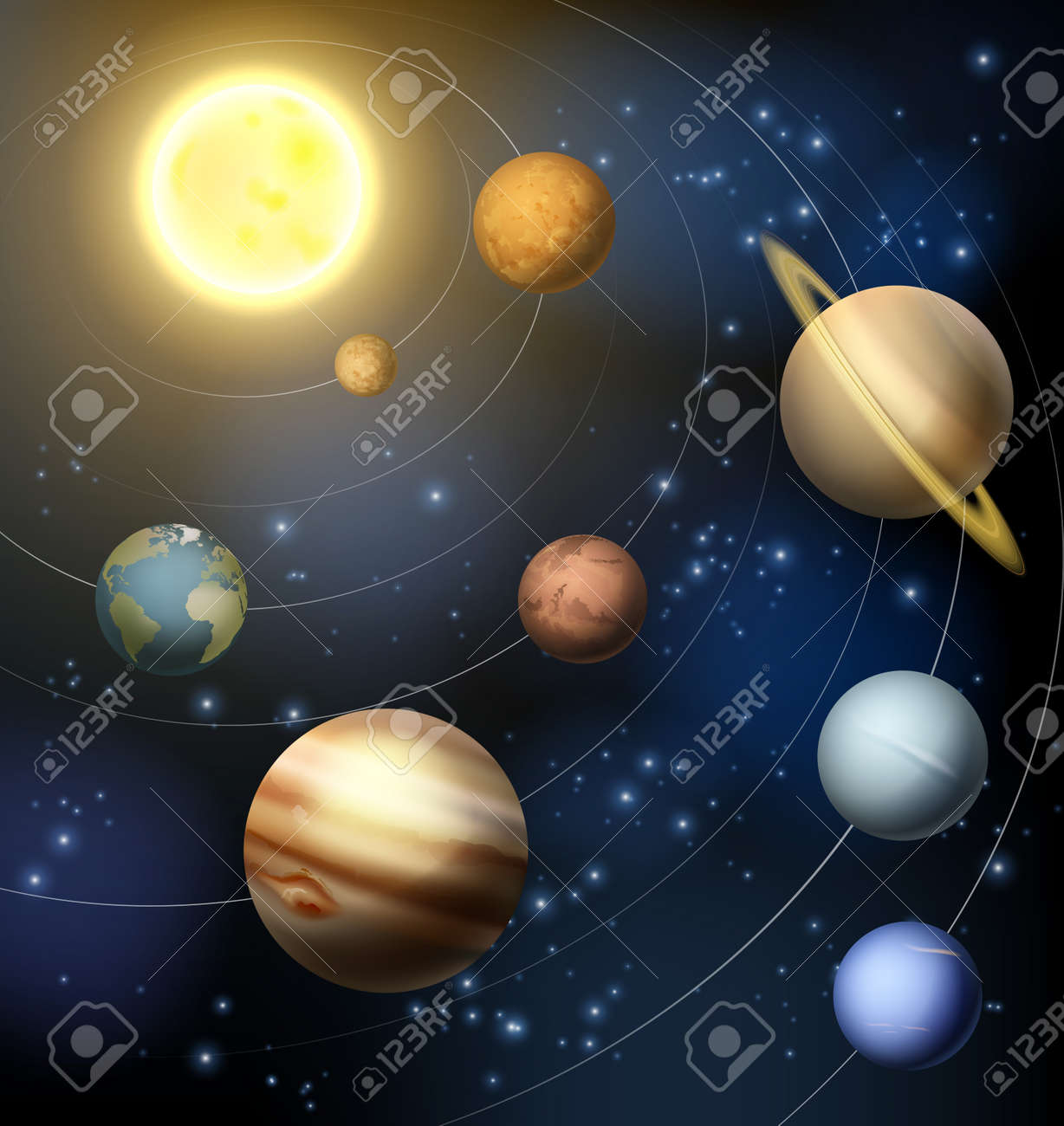 Planets of the solar system around the sun illustration - 38198349