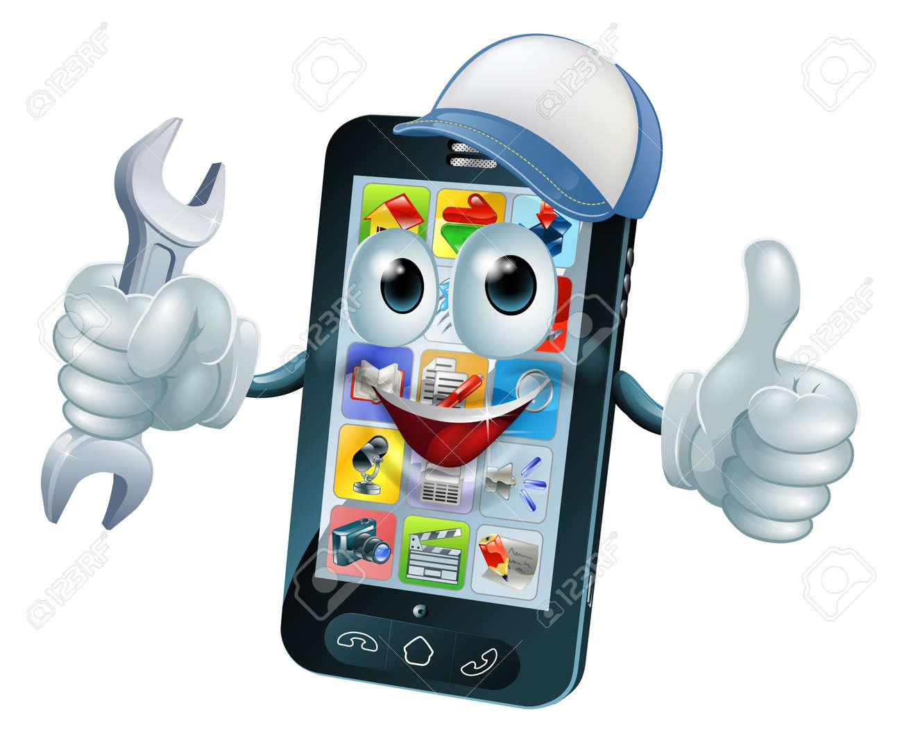 Mobile repair mascot phone mascot person giving a thumbs up while mobile repair mascot phone mascot person giving a thumbs up while holding a wrench or spanner buycottarizona