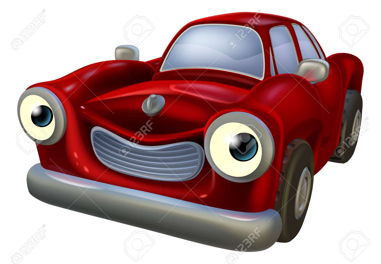 A Happy Red Old Fashioned Car Cartoon Character Royalty Free ...