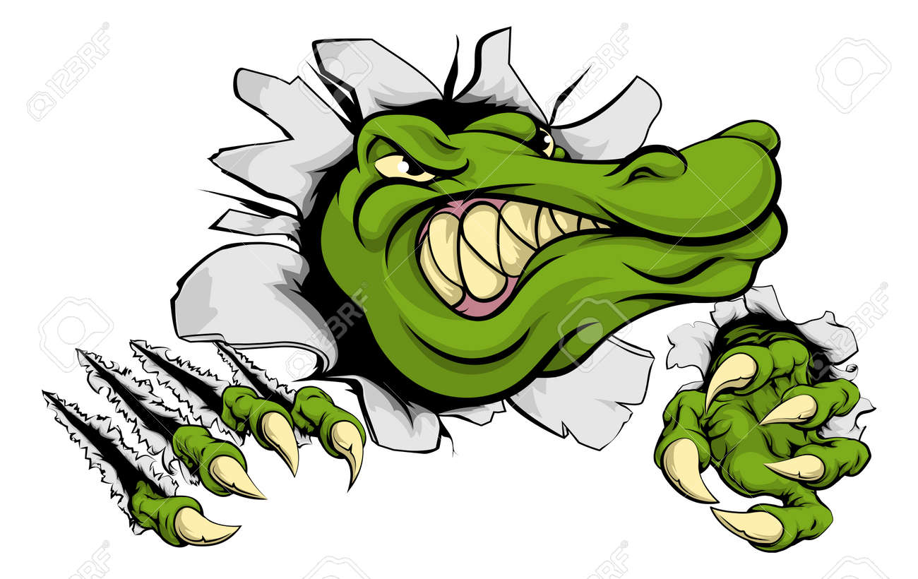 A Cartoon Alligator Or Crocodile Smashing Through Wall With Claws And Head Illustration