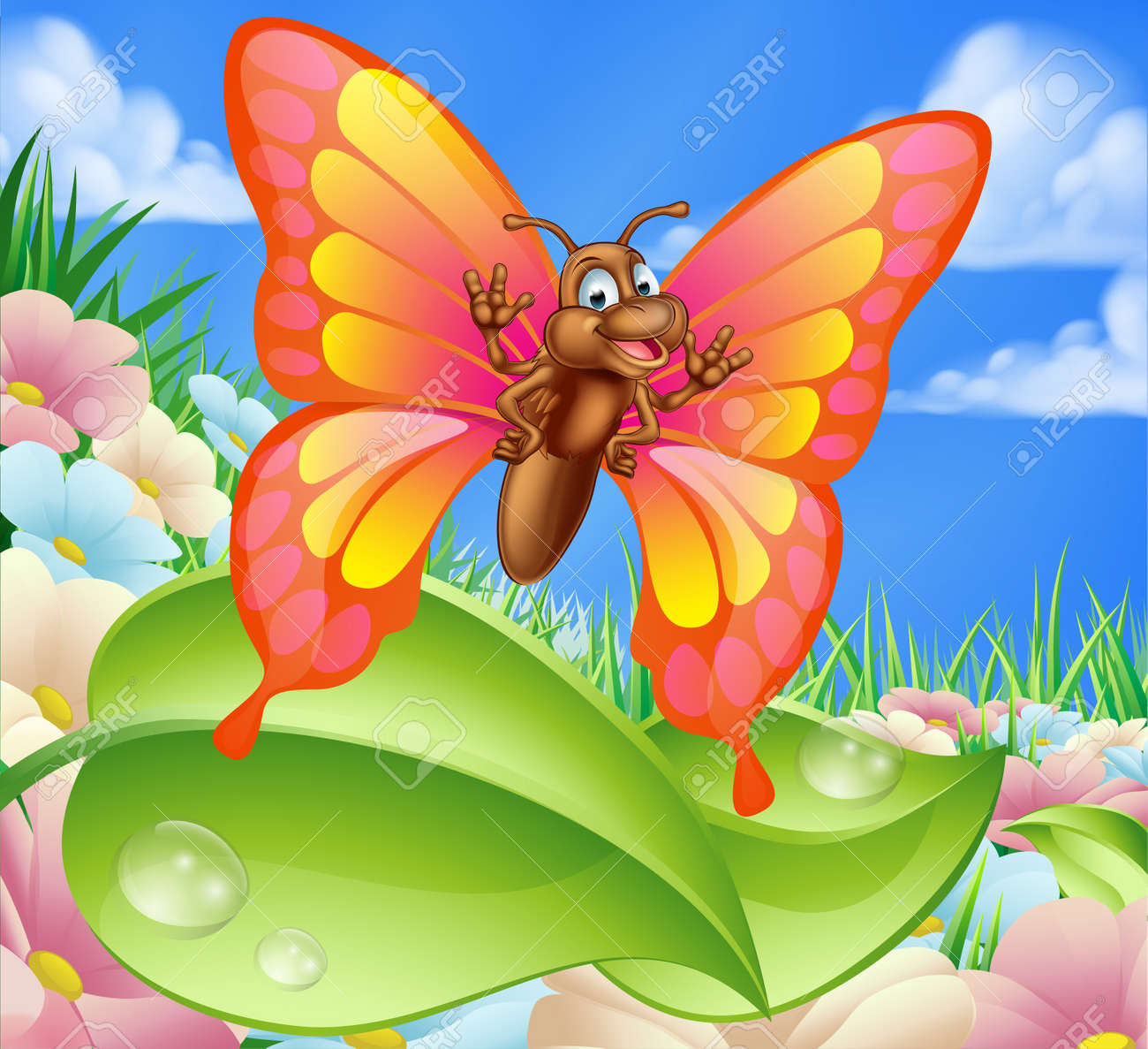 an illustration of a cute cartoon butterfly character in a summer
