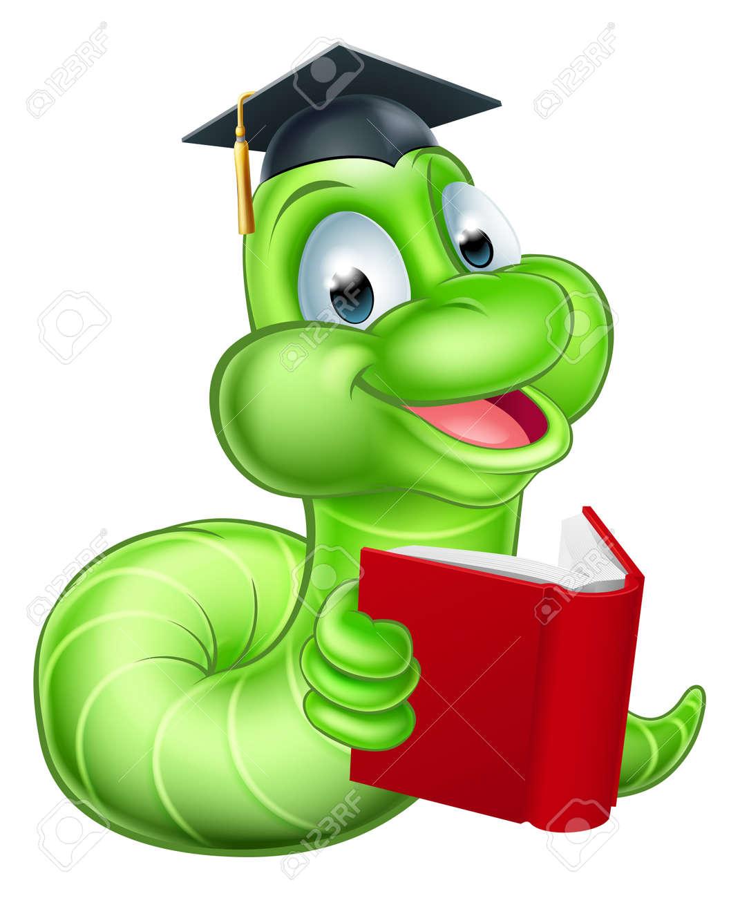 Cute smiling green cartoon caterpillar worm bookworm mascot reading a book and wearing mortar board graduation hat - 42462659